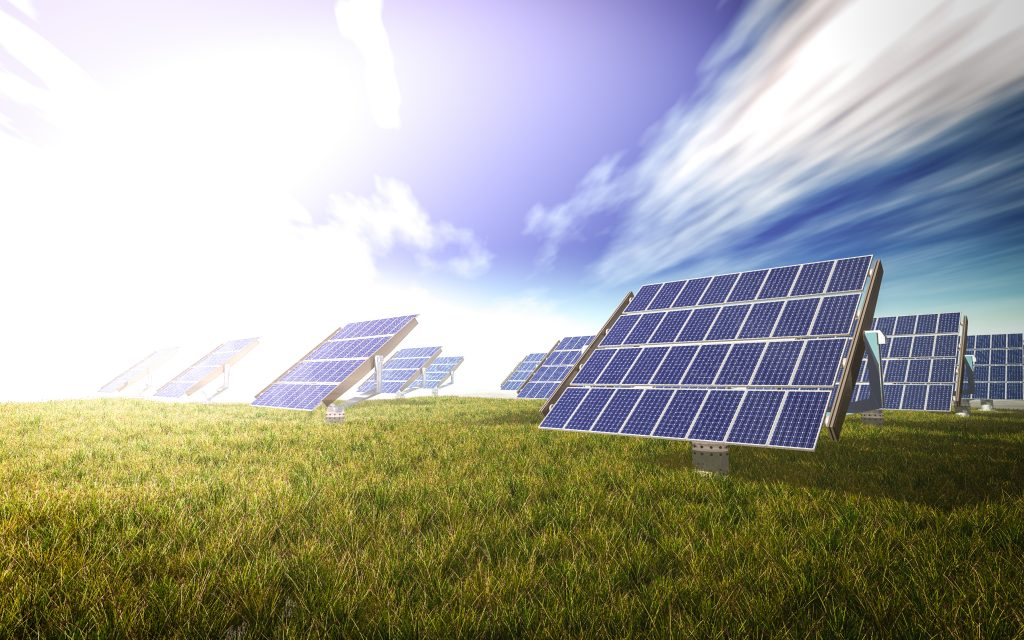 solar cells system on the green world 3d rendering